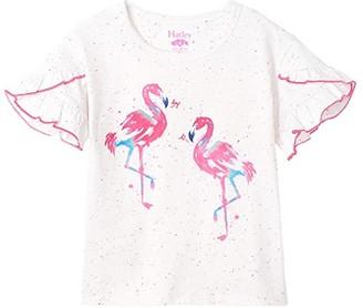 Hatley Fancy Flamingo Flutter Sleeve Tee (Toddler/Little Kids/Big Kids) (White) Girl's Clothing