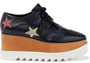 Stella McCartney Cutout Glitter-embellished Faux Leather Platform Brogues