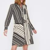 River Island Womens Cream stripe print tie front shirt dress
