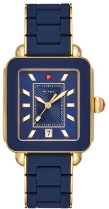 Michele Deco Sport Two-Tone Blue Wrapped Silicone & Goldplated Sterling Silver Bracelet Watch