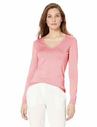 Lark & Ro Amazon Brand Women's Long Sleeve V Neck Pima Cotton Sweater