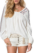 O'Neill Sidra Embroidered Long-Sleeve Peasant Top
