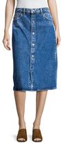 Helmut Lang Denim Snap Front Knee Length Skirt