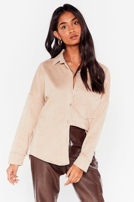 Nasty Gal Womens My Minds Faux Suede Up Relaxed Shirt - Beige - S