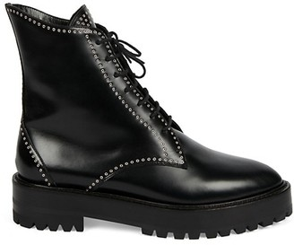 Alaia Grommet Leather Combat Boots