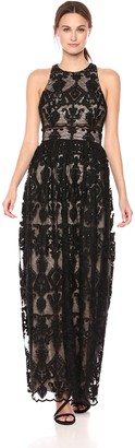 Betsy & Adam Women's Long Embroided lace Dress