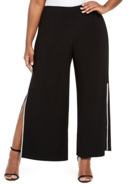 MSK Plus Size Rhinestone Side-Slit Pants