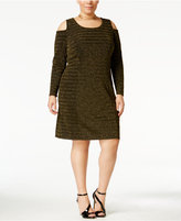 NY Collection Plus Size Cold-Shoulder Sheath Dress