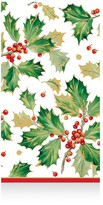 Caspari Gilded Holly Paper Guest Towels, 15 Pack