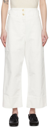 Lanvin White High-Waisted Crop Jeans
