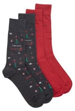 HUGO BOSS Two Pack Of Festive Regular Length Cotton Blend Socks - Dark Grey