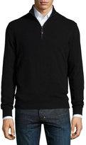 Neiman Marcus Nano-Cashmere 1/4-Zip Pullover, Black