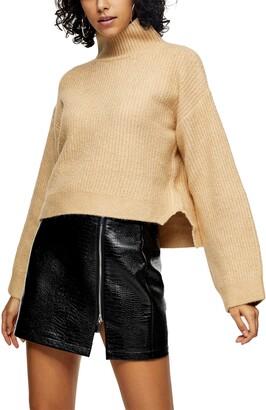 Topshop Crop Funnel Neck Sweater