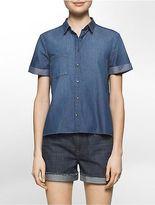 Calvin Klein Womens Dark Wash Denim Short Sleeve Shirt