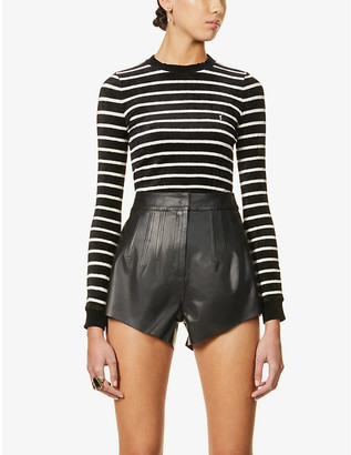 Saint Laurent Striped logo-embroidered knitted jumper