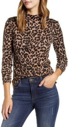 BeachLunchLounge Animal Print Funnel Neck Hacci Knit Top