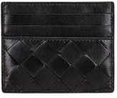 Bottega Veneta Leather Woven Card Case in Black & Silver | FWRD