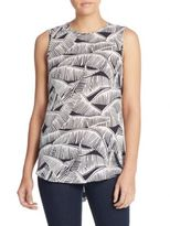Theory Bringam Palm Tree Silk Top