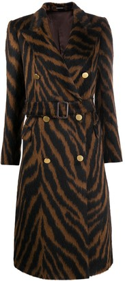 Tagliatore Tiger Print Coat With Belted Waist