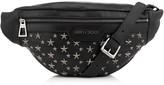 Jimmy Choo DERRY Black Biker Leather Waist Bag with Gunmetal Stars