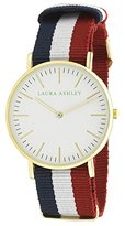 Laura Ashley Women's LA31016WT Stainless Steel Watch with Striped Nylon Band