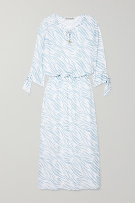 Heidi Klein Shirred Zebra-print Voile Maxi Dress