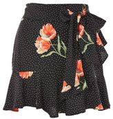 Topshop Spot flower ruffle mini skirt