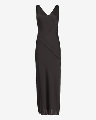 Express Satin V-Neck Maxi Slip Dress