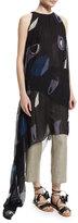 ADAM by Adam Lippes Sleeveless Pleated Asymmetric Gown, Black/Multi