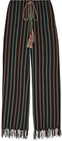 Miguelina Fringed Striped Cotton-blend Wide-leg Pants - Storm blue