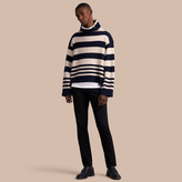 Burberry Striped Knitted Cashmere Roll-neck Sweater , Size: Xxl, Blue