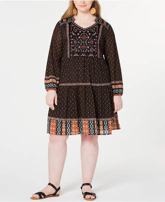 Style&Co. Style & Co Mixed-Print Bubble-Sleeve Peasant Dress