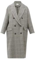 Etoile Isabel Marant Ojima Checked Wool-blend Overcoat - Womens - Dark Grey