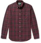 Gitman Brothers Button-down Collar Checked Cotton-flannel Shirt - Burgundy