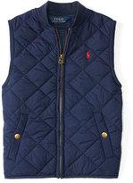 Ralph Lauren Matte Quilted Baseball Vest, Navy, Size 2-7