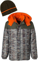 iXtreme Olive & Orange Abstract Puffer Coat & Beanie - Toddler & Boys