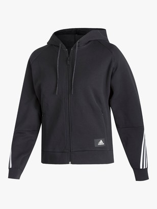 adidas Branded Icons 3 Stripes Full-Zip Hoodie, Black/White