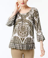 INC International Concepts Printed Peasant Top, Created for Macy's