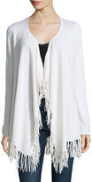 Minnie Rose Cashmere Fringed-Trim Open-Front Cardigan, White