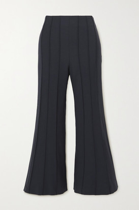 Monse Cropped Pintucked Wool-blend Twill Flared Pants - Midnight blue