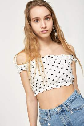 Topshop Womens Strappy Gypsy Crop Top - White
