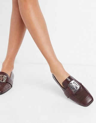 ASOS DESIGN Mellow leather loafer with hardware in burgundy croc