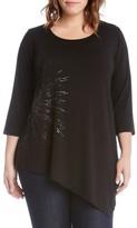 Karen Kane Plus Size Women's Print Asymmetrical Hem Top