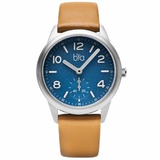Bia Cordon Blue Women's Suffragette Stainless Steel Japanese Quartz Leather Calfskin Strap Brown 18 Casual Watch (Model: B1004)