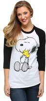 Mighty Fine womens Peanuts Snoopy And Woodstock Hugging Juniors Raglan Shirt