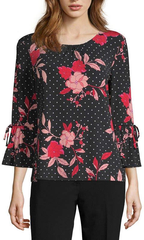 Liz Claiborne 3/4 Detail Sleeve Packable Top - Tall