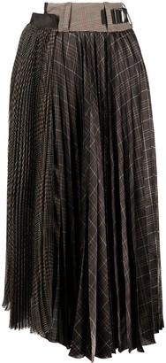 Sacai Checked Pleated Mid-Length Skirt