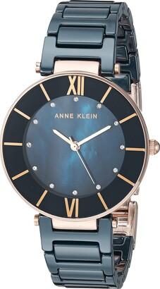 Anne Klein Women's AK/3266BKRG Swarovski Crystal Accented Rose Gold-Tone and Black Ceramic Bracelet Watch