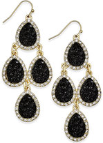 INC International Concepts Gold-Tone Jet Glitter Chandelier Earrings, Only at Macy's