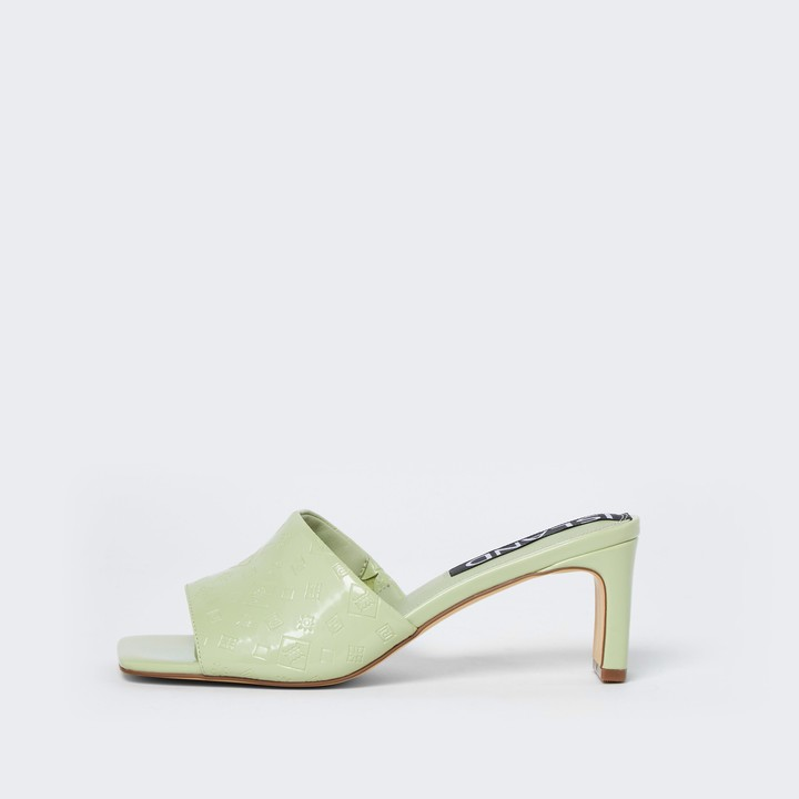 Thumbnail for your product : River Island Womens Green RI embossed block heel mules